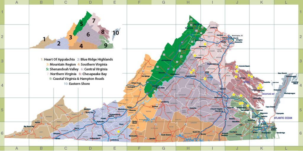 Coastal Virginia Map.Map Of Regions Savor Virginia