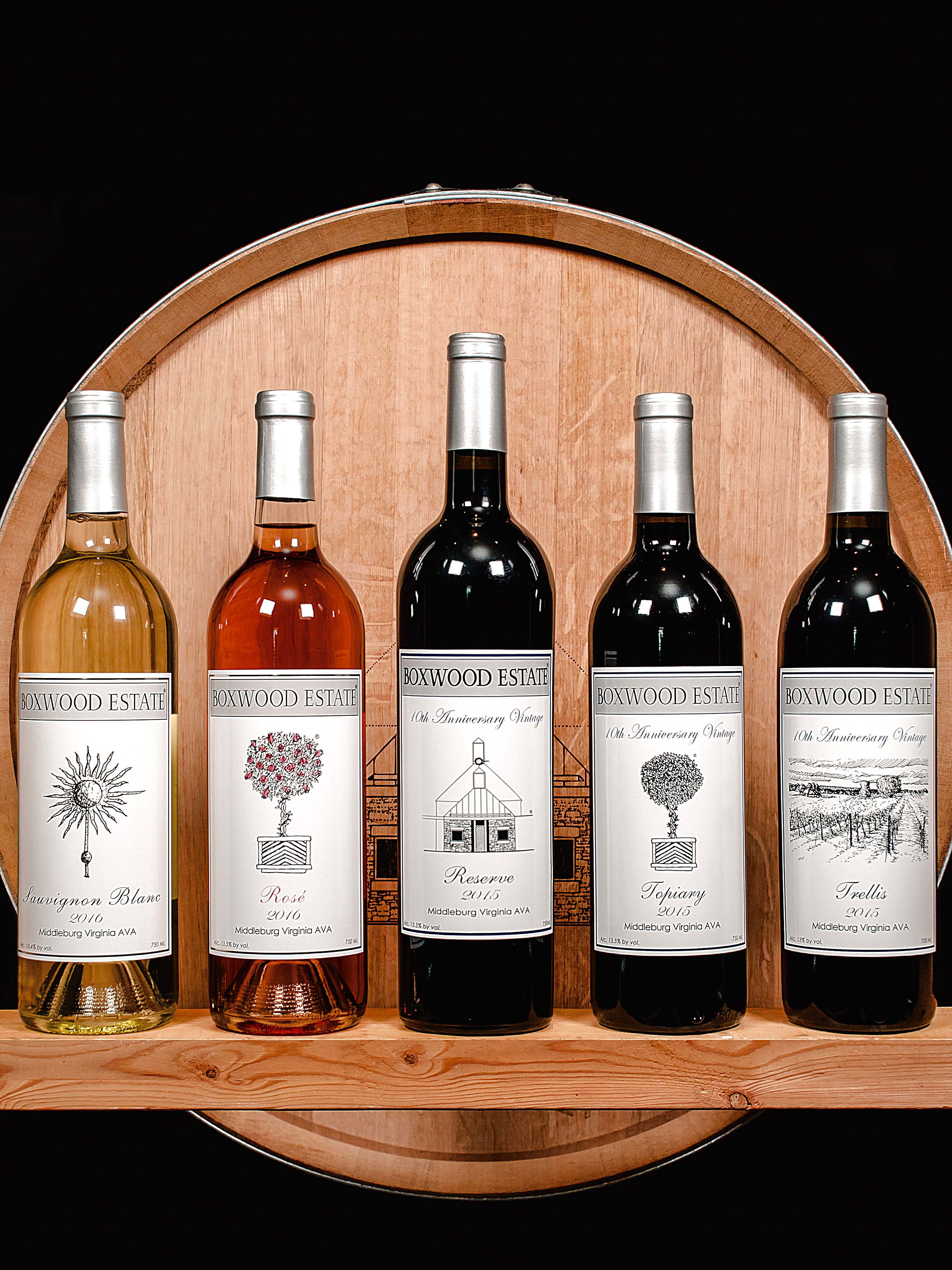 Boxwood Estate Winery, Middleburg 10th Anniversary Vintage Wines