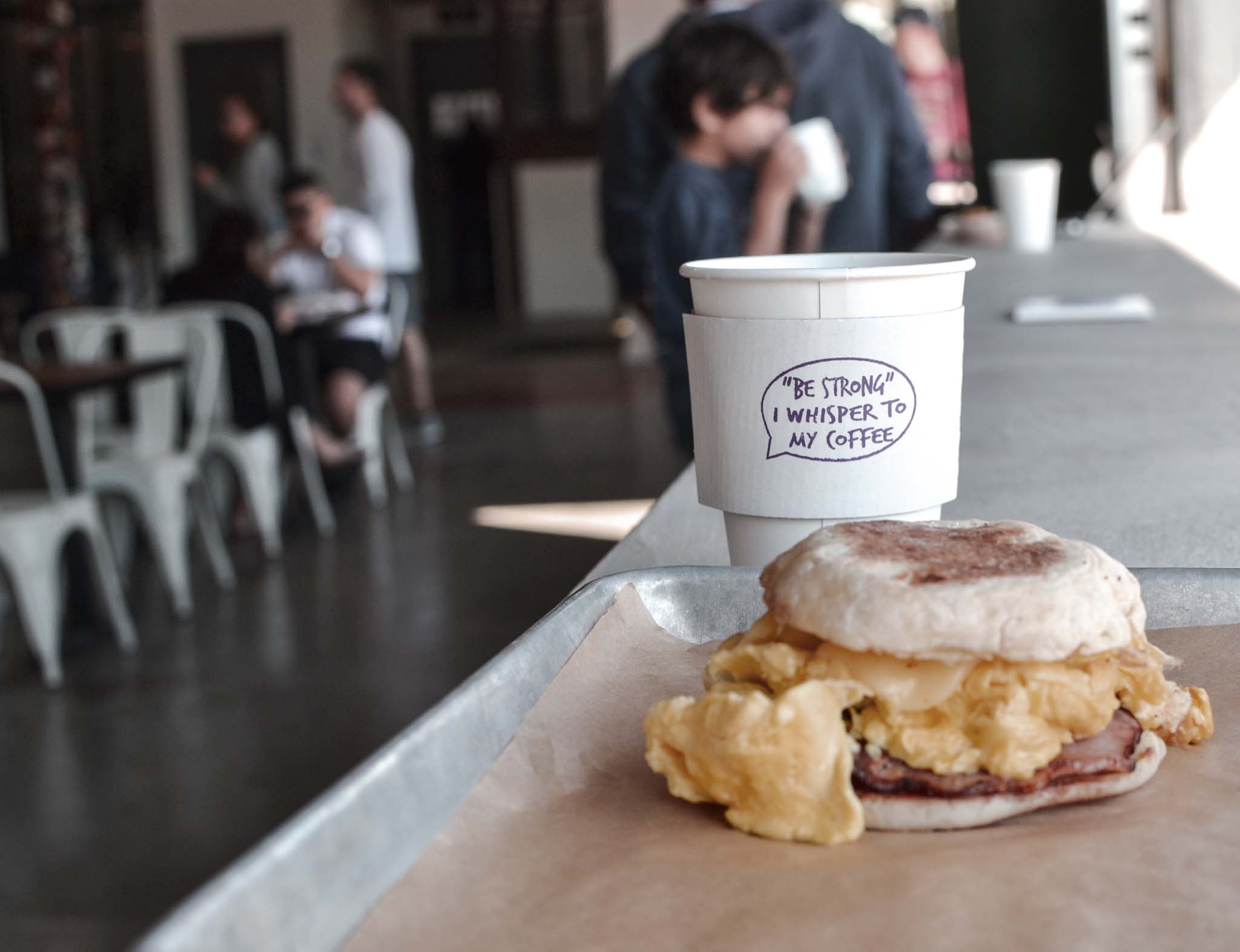 breakfast and coffee at Caboose Commons, Fairfax