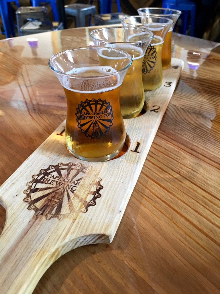 Cape Charles Brewing, beer flight
