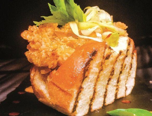Mini Brioche Chickpea-crusted Oyster Po' Boy