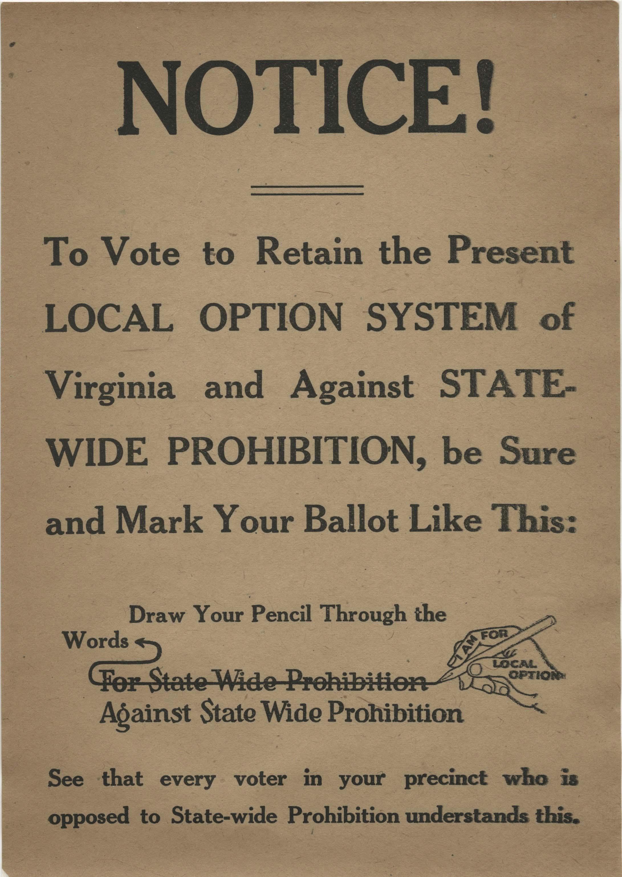 Virginia Prohibition Notice