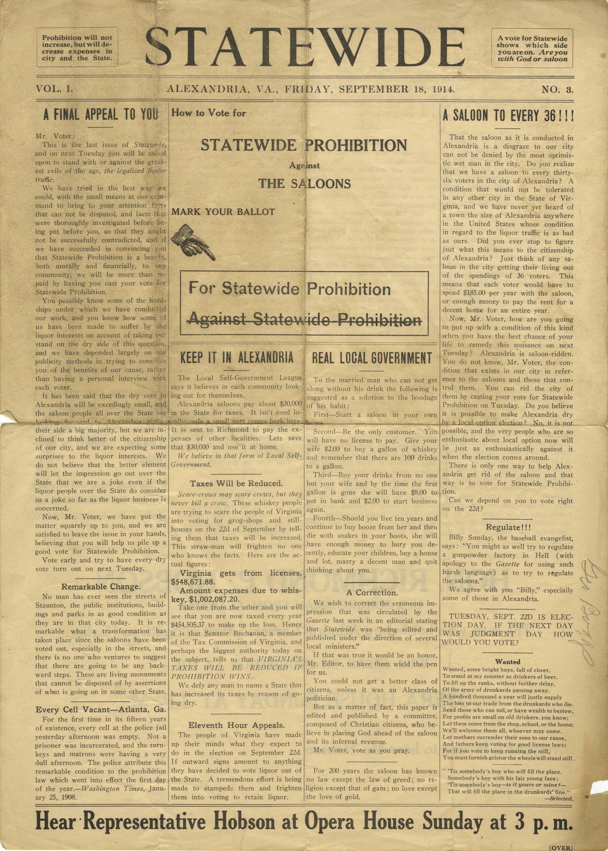 Statewide Virginia Prohibition, Exhibit