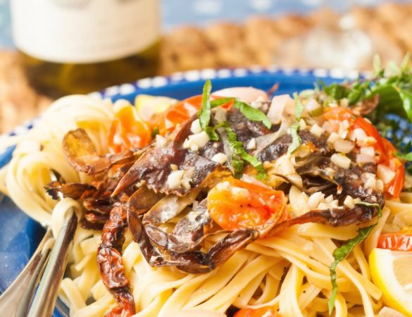 Grilled Soft-Shell Crab Scampi Recipe