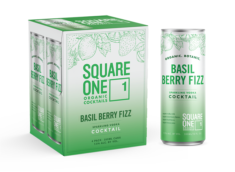 canned cocktails-Square One basil berry