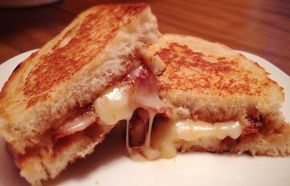 Chateau Morrisette Vin Gris and Apple Butter, Bacon and Brie Grilled Cheese
