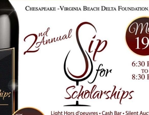 Chesapeake-Virginia Beach Delta Foundation Will Host 2nd Annual Sip for Scholarships Fundraiser
